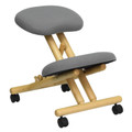Mobile Wooden Ergonomic Kneeling Chair in Gray Fabric , #FF-0433-14