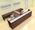 8pc 12' Feet U Shaped Glass Divider Counter Reception Desk Set, #CH-AMB-R16