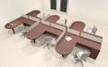 Six Person L Shaped Modern Divider Office Workstation Desk Set, #CH-AMB-SP26