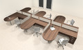 Six Person L Shaped Modern Divider Office Workstation Desk Set, #CH-AMB-SP29