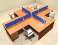 Four Person Blue Divider Office Workstation Desk Set, #OT-SUL-FPB41