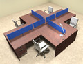 Four Person Blue Divider Office Workstation Desk Set, #OT-SUL-FPB42
