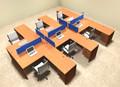 Six Person Blue Divider Office Workstation Desk Set, #OT-SUL-FPB45
