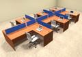 Six Person Blue Divider Office Workstation Desk Set, #OT-SUL-SPB49