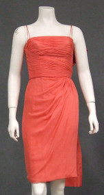 Knockout Wilson Folmar Gathered Chiffon 1950's 1960's Cocktail Dress w/ Taffeta Sash