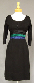 Elegant Black Wool 1950's 1960's Day to Cocktail Dress w/ Satin Trim