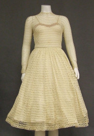 UNIQUE Cream Fishnet 1950's 1960's Vintage Cocktail Dress