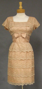 Elegant Embroidered Tan Organdy 1960's Cocktail Dress
