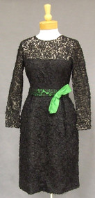 Elegant Ribbon Embroidered 1960's Cocktail Dress w/ Green Satin