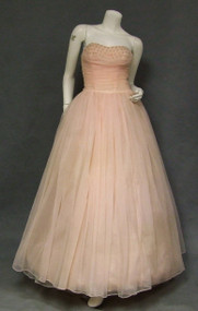 Floating Pink Chiffon 1960's Ball Gown w/ Pearl Studded Bust