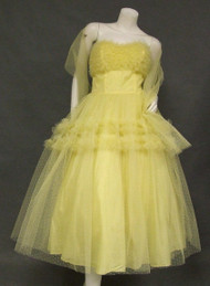 Floating Lemon Yellow Point D'Esprit Tulle 1950's Prom Dress w/ Ruffles