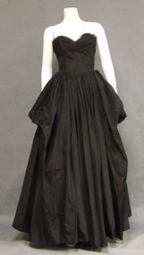 Sensational Black Taffeta & Tulle 1950's Ball Gown