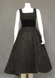 Embroidered Black Taffeta 1950's Cocktail Dress w/ Velvet Waist