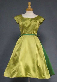 Harry Keiser Two Toned Satin 1960's Cocktail Dress