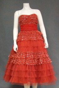 Red & Silver Lace & Tulle Strapless Vintage Prom Dress