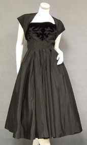 INCREDIBLE Black Taffeta 1950's Cocktail Dress w/ Velvet & Jet Bead Trim