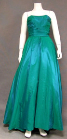 Iridescent Green Taffeta 1950's Gown w/ Cropped Jacket