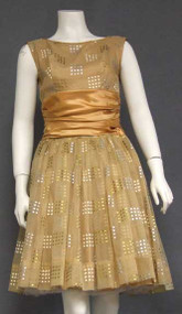 GREAT Tan Chiffon 1960's Cocktail Dress w/ Silver & Gold Squares