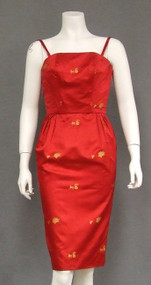 Cherry Red Satin 1960's Cocktail Dress w/ Horse & Carriage