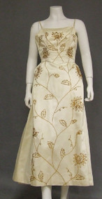 Beaded Cream Satin 1960's Evening Gown