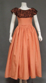 Salmon Taffeta & Black Lace 1940's Evening Dress