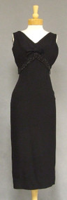 Black Crepe 1960's Evening Dress w/ Bead Fringe