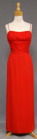 Gathered Red Chiffon 1960's Evening Gown w/ Rhinestone Straps