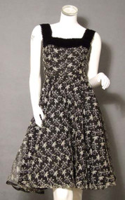 BEAUTIFUL Black Tulle 1950's Cocktail Dress w/ Ivory Embroidery & Velvet Trim