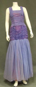 FUN Gathered Lavender Chiffon 1960's Evening Dress