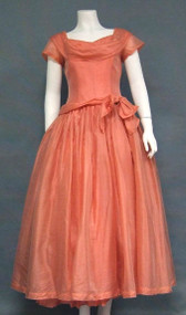 Salmon Organdy 1950's Cocktail Dress