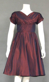 Iridescent Burgundy Taffeta 1950's Cocktail Dress