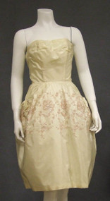 Cream Taffeta 1960's Cocktail Dress w/ Metallic Rose Embroidery