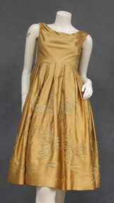 Muted Golden Satin Cocktail Dress w/ Metallic Embroidery