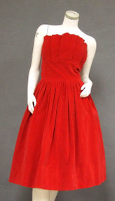 Fiery Red Velveteen Strapless Party Dress w/ Pleated Bust