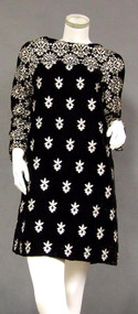 Sarmi Embroidered Velvet 1960's Mini Dress w/ Matching Vest