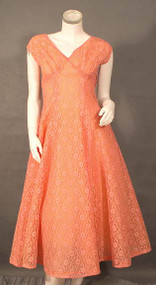 Graceful Peach Lace & Organdy Party Dress