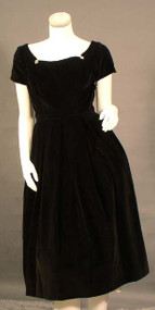 Lovely Betty Barclay Black Velveteen 1950's Cocktail Dress