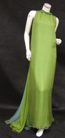 INCREDIBLE Chartreuse & Periwinkle Silk Chiffon Sarmi Evening Gown w/ Flowing Back
