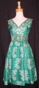 FUN Chester Weinberg Green Silk Cocktail Dress w/ Wide Belt