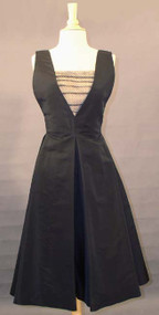 1950's Pauline Trigere Black Faille & Dotted Tulle Cocktail Dress
