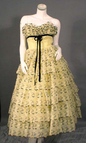 AMAZING Yellow & Black Embroidered Strapless Prom Dress