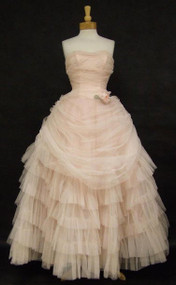 Prom Queen Pink Tulle Strapless 1950's Ball Gown