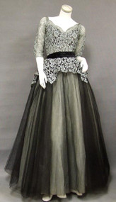 EXQUISITE Pale Blue Lace & Black Tulle 1950's Ball Gown