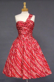 AMAZING Pink & Red Silk One Shouldered 1950's Cocktail Dress