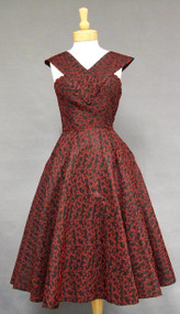 KNOCKOUT Red & Black Embroidered Taffeta 1950's Cocktail Dress