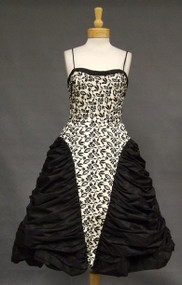 KNOCKOUT Emma Domb Black & White Taffeta 1950's Cocktail Dress