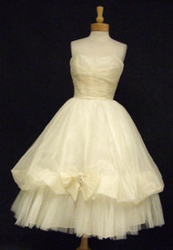 Enchanting Ivory Organdy & Tulle 1950's Strapless Cocktail Dress w/ Balloon Hem