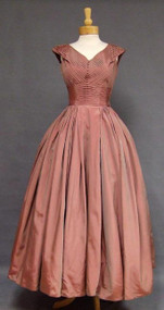 GORGEOUS Dusty Rose Taffeta Fred Perlberg 1950's Evening Gown