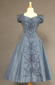 Fantastic Slate Blue Taffeta 1950's Cocktail Dress w/ Soutache, Pearl & RS Trim