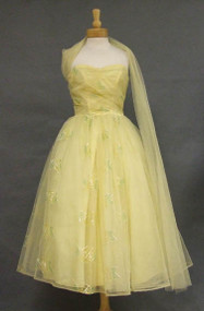 FANTASTIC Lemon Tulle 1950's Prom Dress w/ Embroidered Appliques